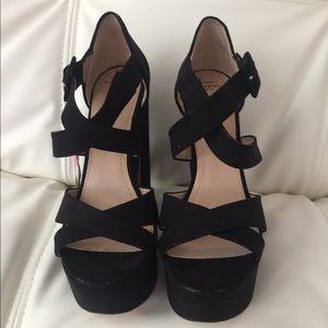 Zara black open-toe heels. NWT. US 7.5  EU 38